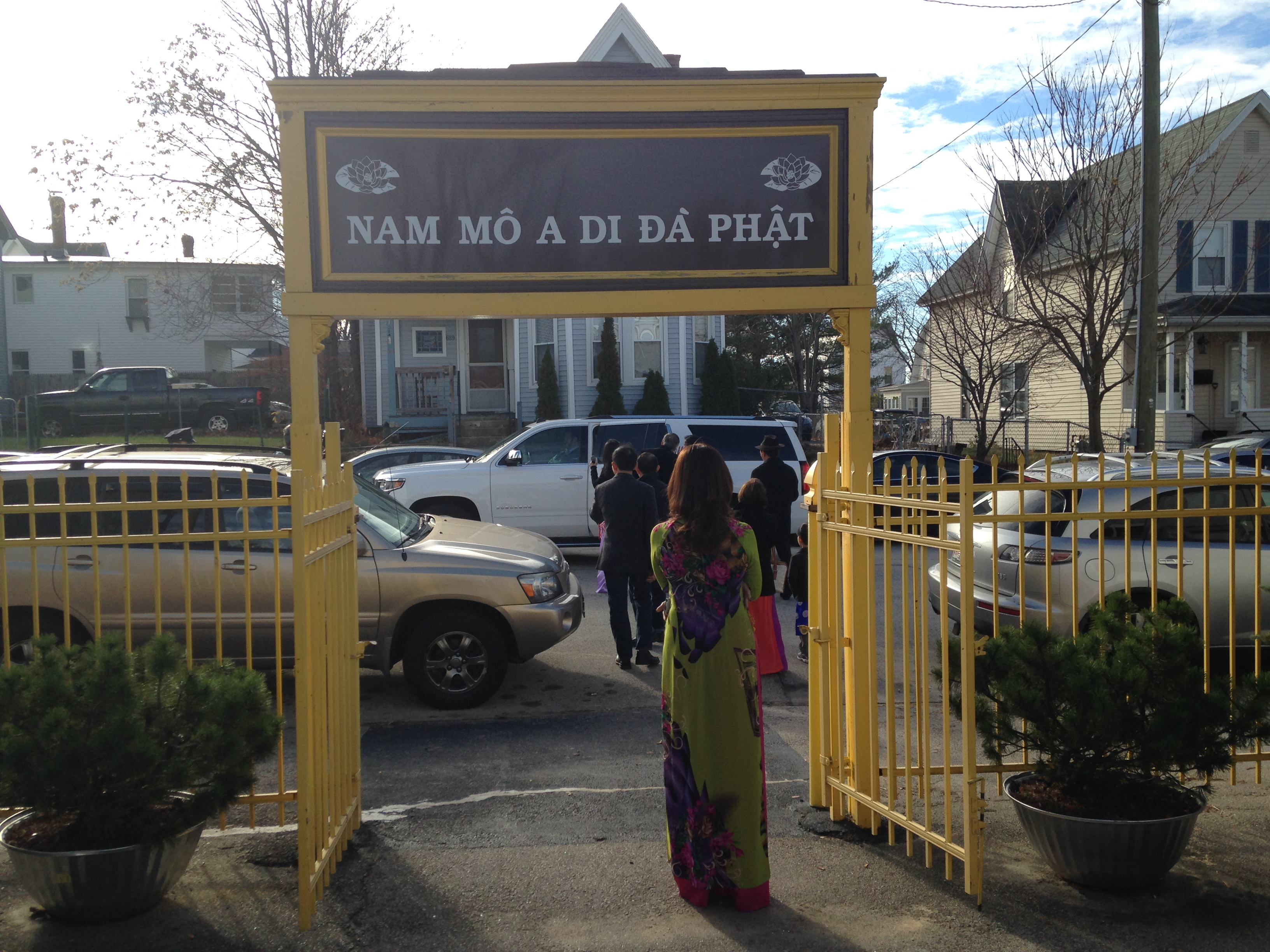 Members of the Vietnamese community seeing off Sens Lindsey Graham and John McCain at a temple in Manchester.
